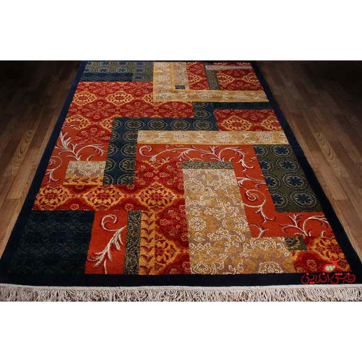 فرش ماشینی ساوین طرح یاس سورمه ای