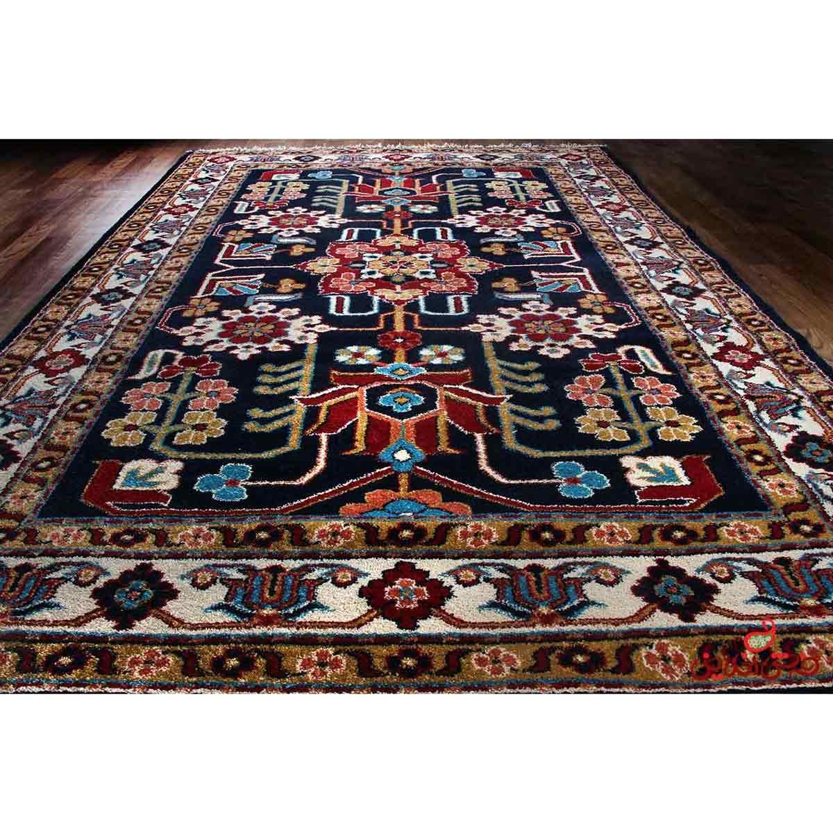 فرش ماشینی  ساوین طرح مهربان سورمه ای