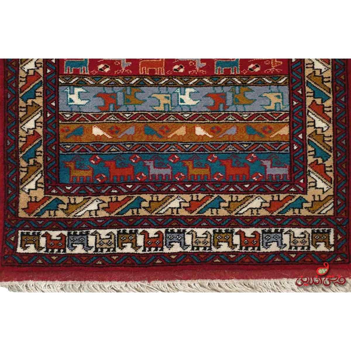 فرش دستباف ترکمن طرح حیوانات روناسی