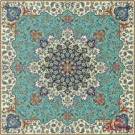 رومیزی مربع ترمه طرح فرحزاد کد 618