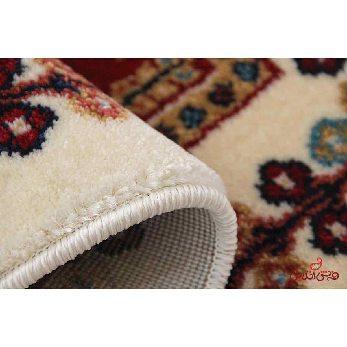 پادری فرش ماشینی  ساوین طرح قشقایی کرم