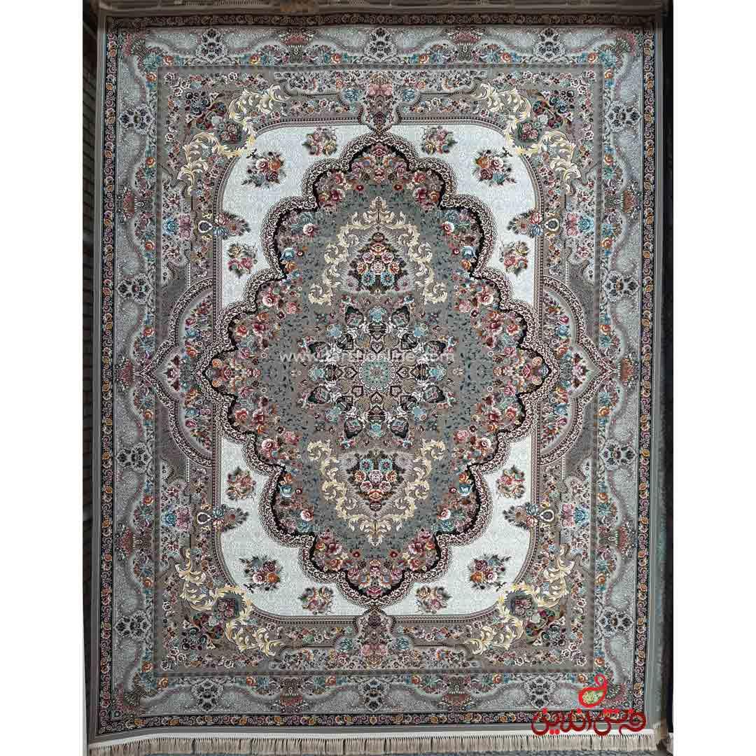 فرش ماشینی برین کاشان طرح بهشت نقره ای