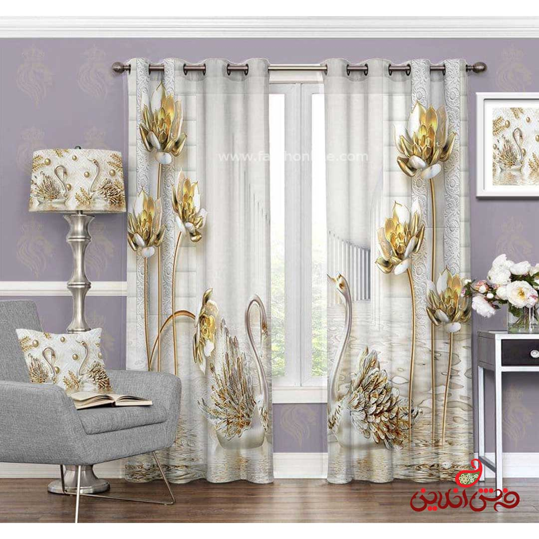 پرده مدرن طرح قو و گل طلایی کد 3370