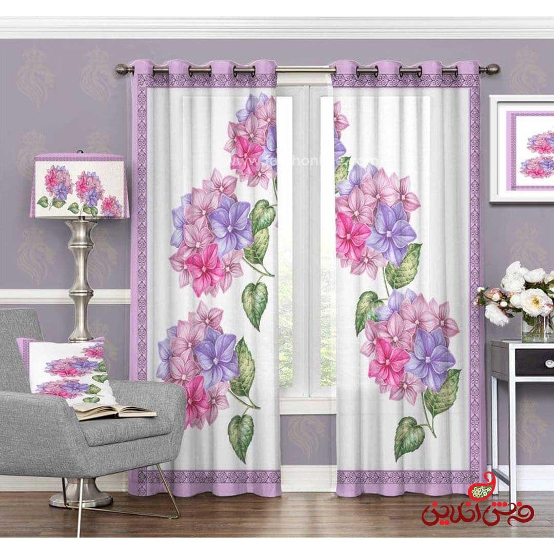پرده مدرن طرح گل های رنگی کد 3398