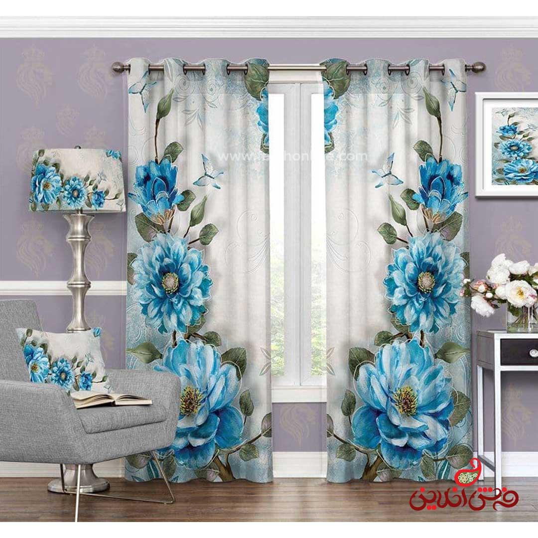 پرده مدرن طرح گل آبی کد 3453