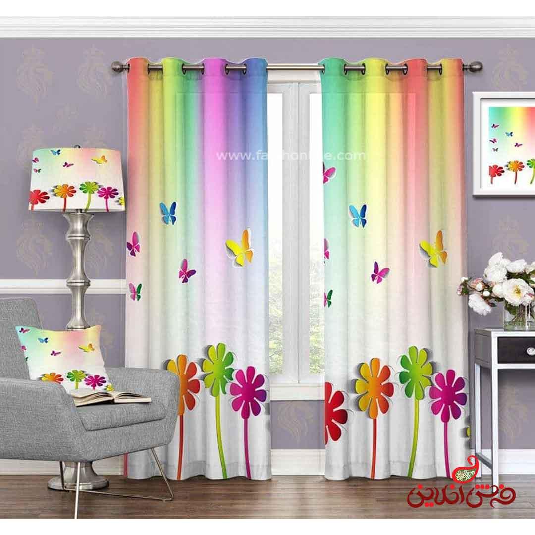 پرده مدرن طرح گل و پروانه رنگی کد 3461