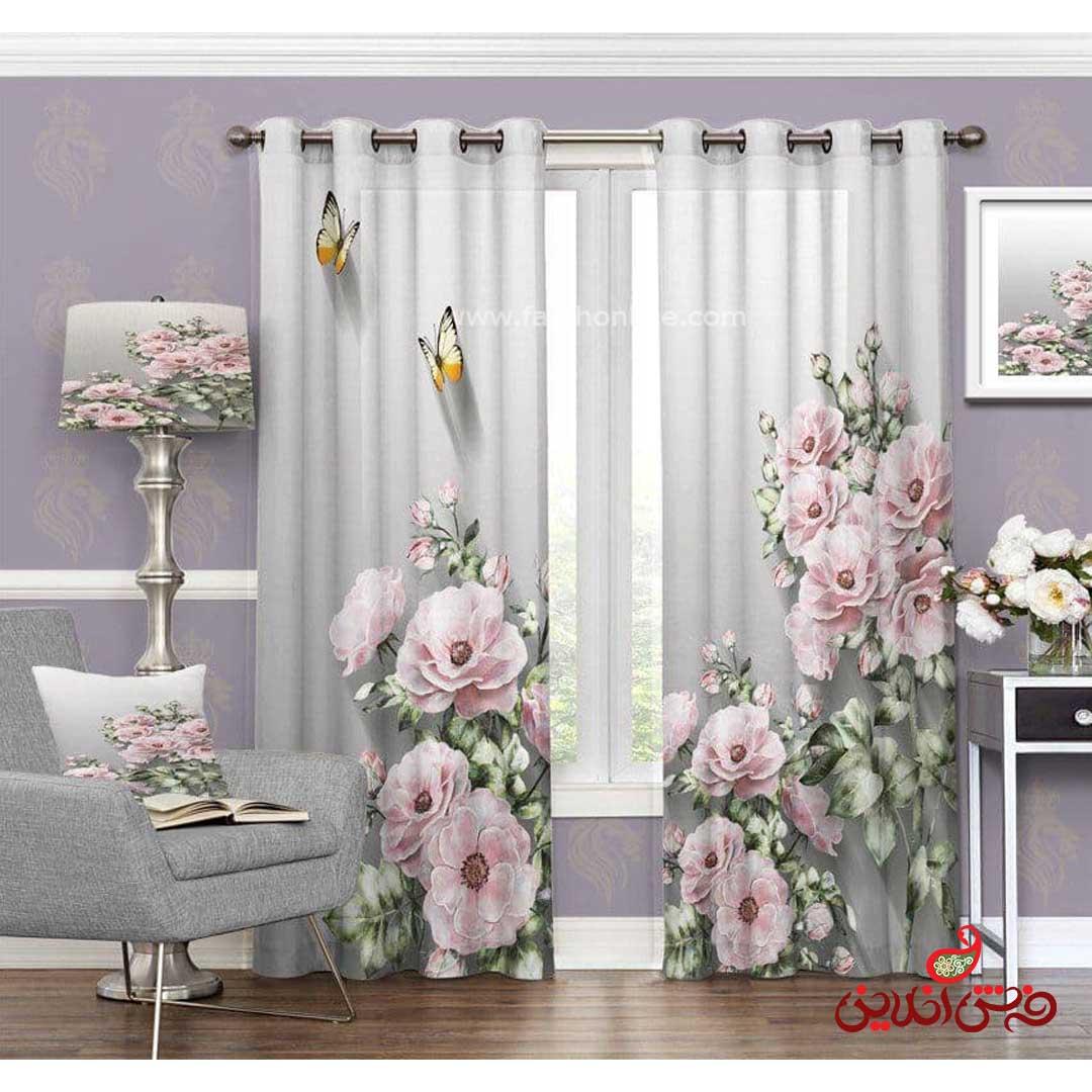پرده مدرن طرح گل صورتی و پروانه کد 3478