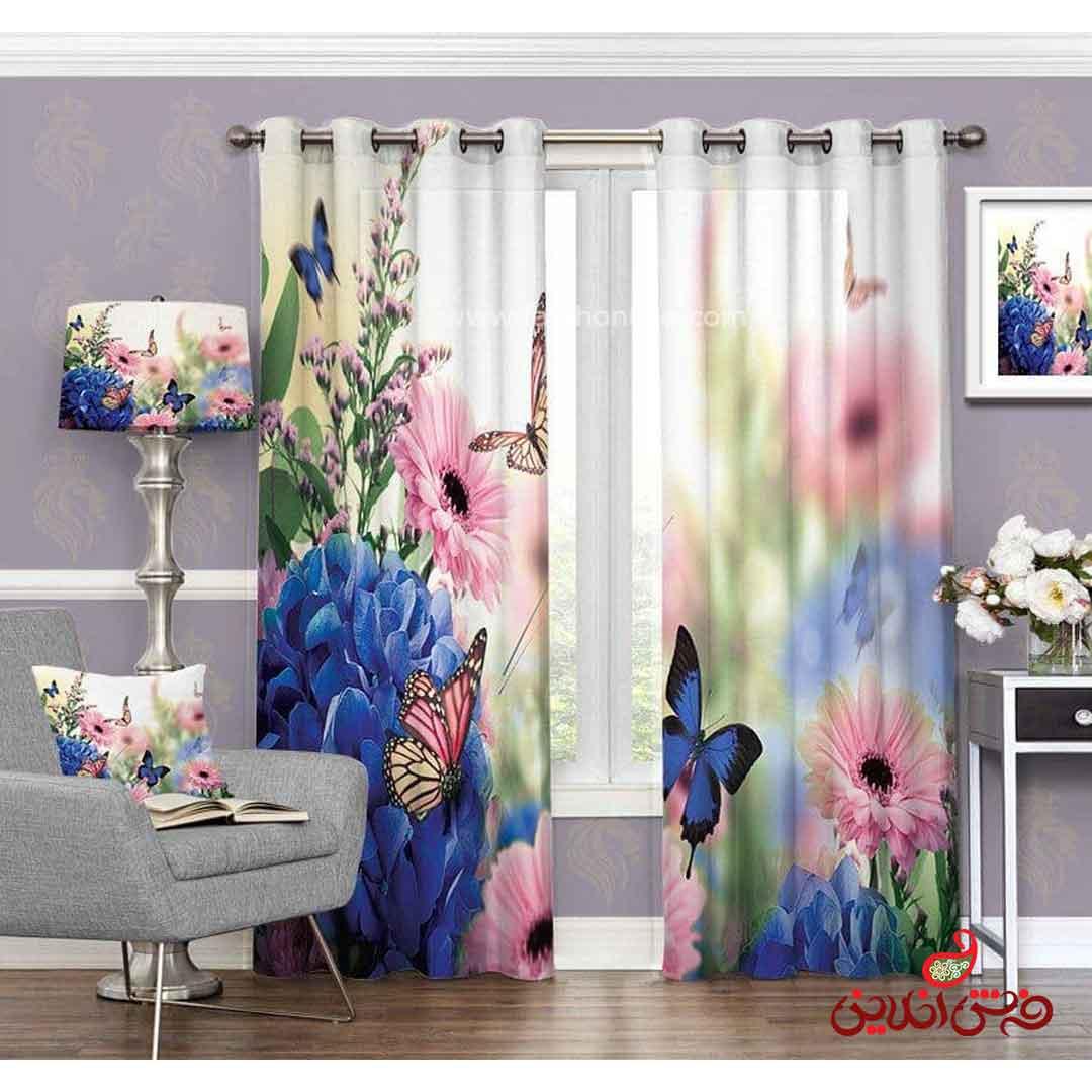 پرده مدرن طرح گل و پروانه کد 3492