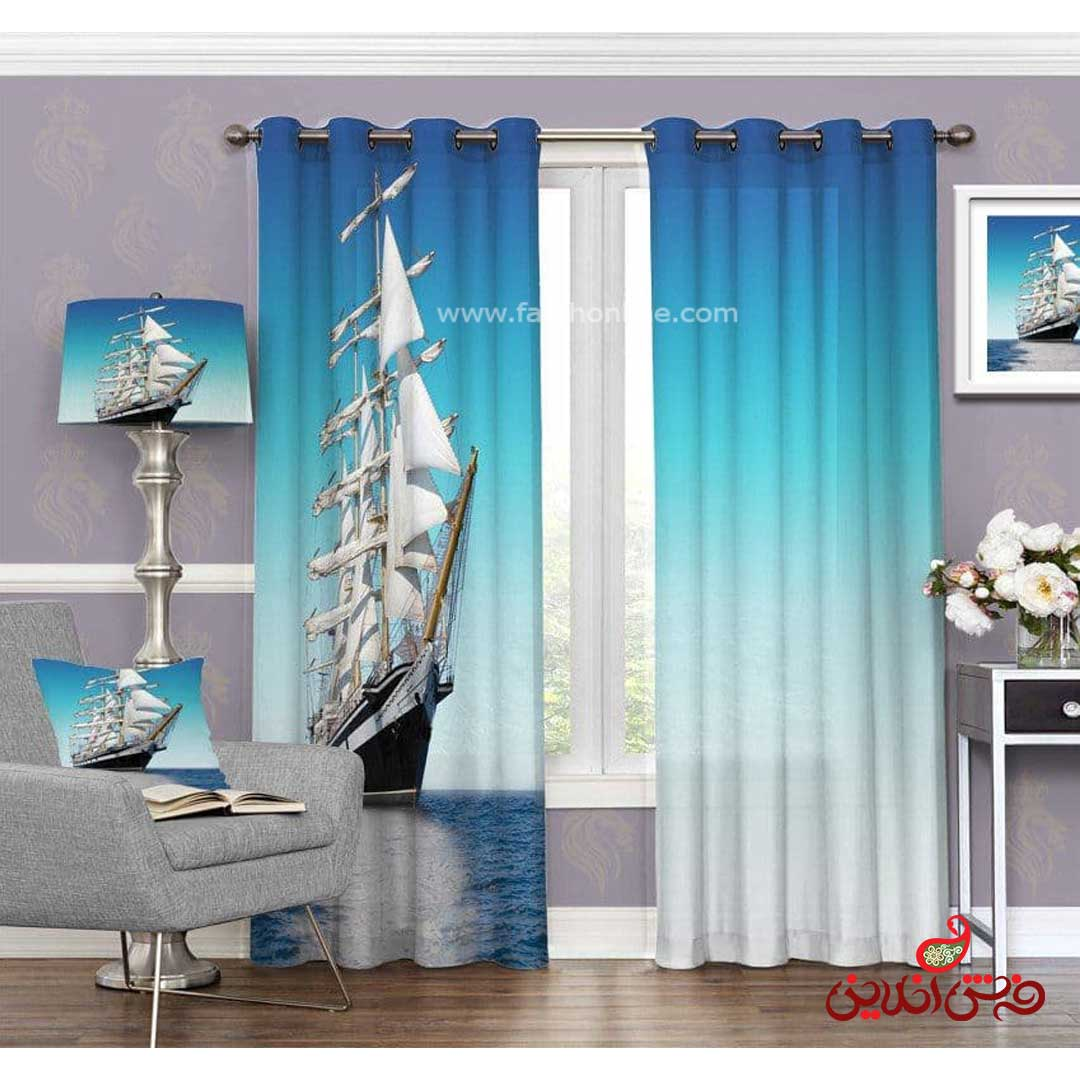 پرده مدرن طرح قایق شناور کد 3598