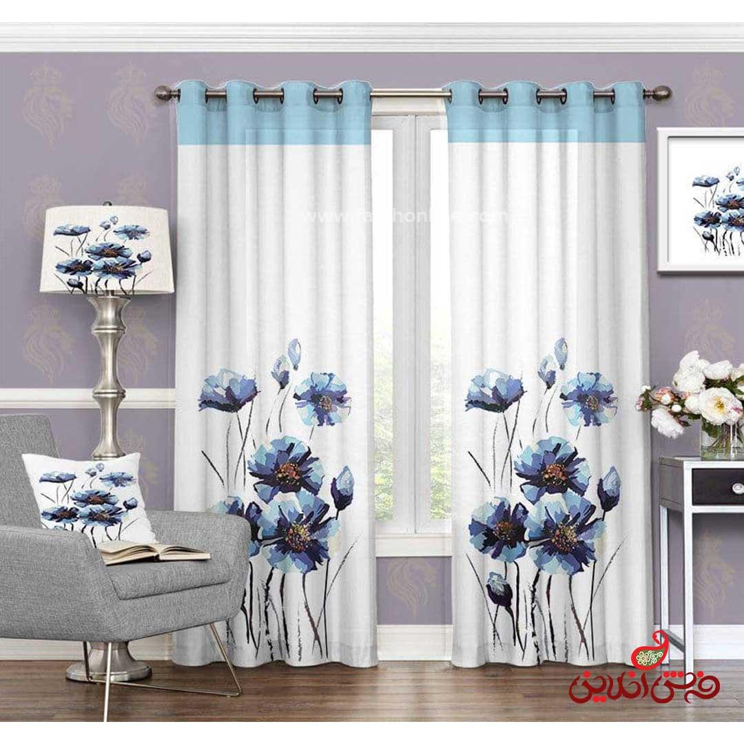 پرده مدرن طرح گل آبی کد 3615