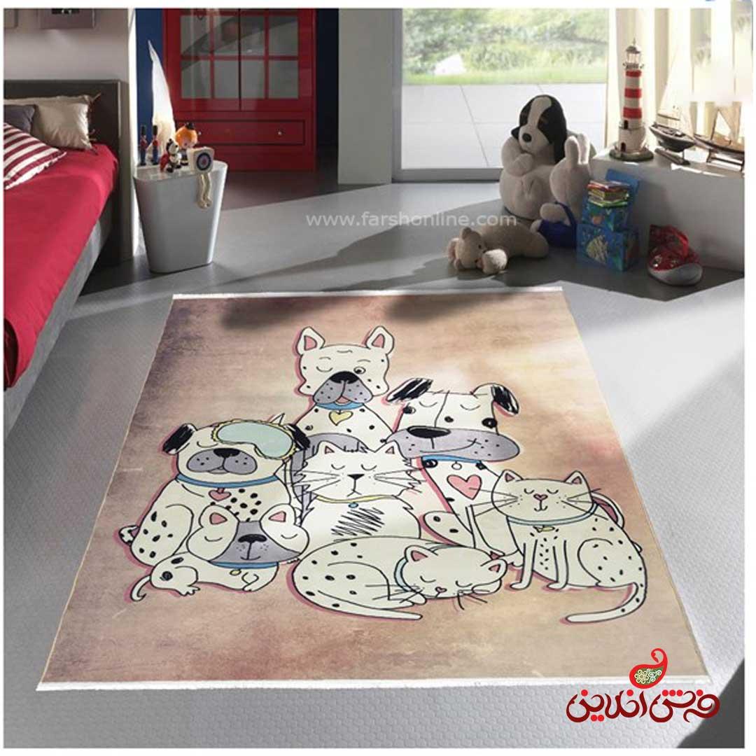فرش ماشینی کودک کلاریس طرح سگ وگربه کد 100279
