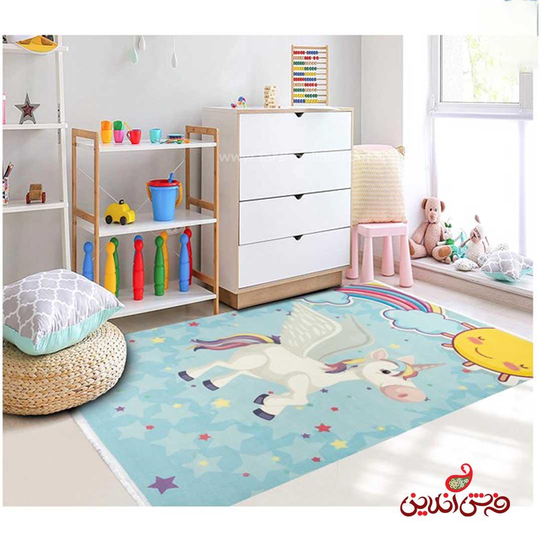 فرش ماشینی کودک کلاریس طرح اسب تک شاخ کد 100287