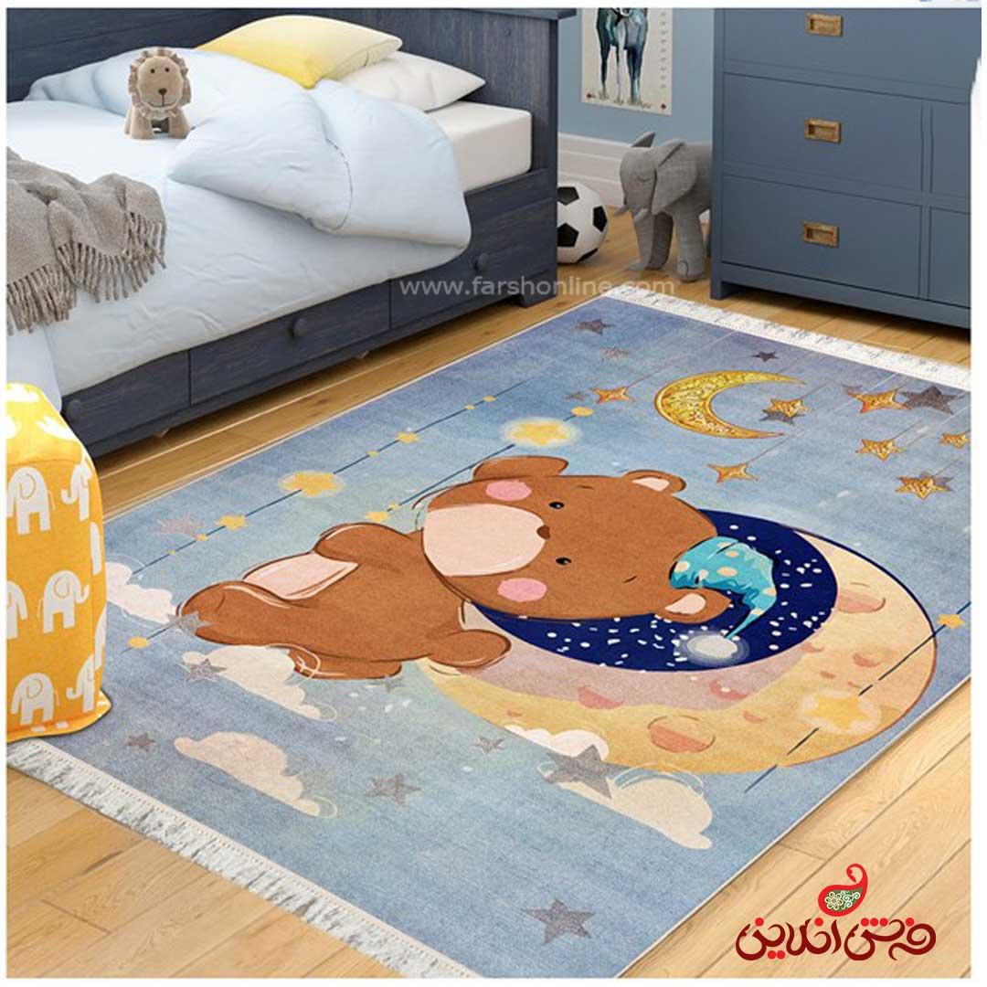 فرش ماشینی کودک کلاریس طرح خرس و ماه کد 100288