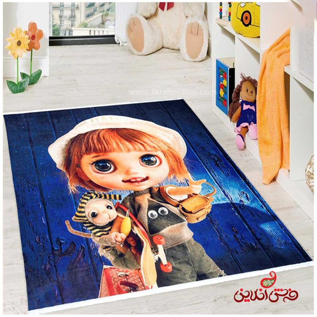 فرش ماشینی کودک کلاریس طرح عروسکی کد 100290