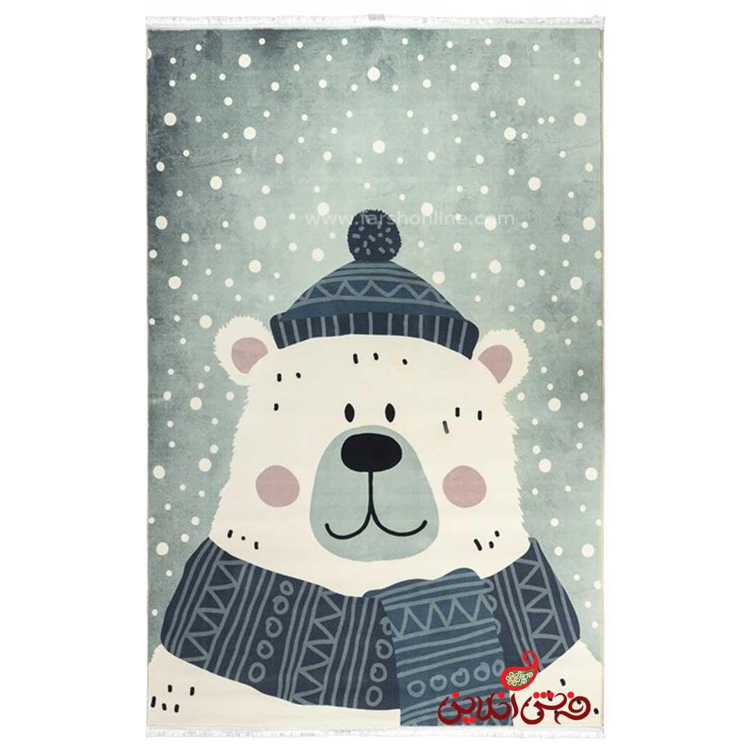 فرش ماشینی کودک کلاریس طرح خرس  کد 100305