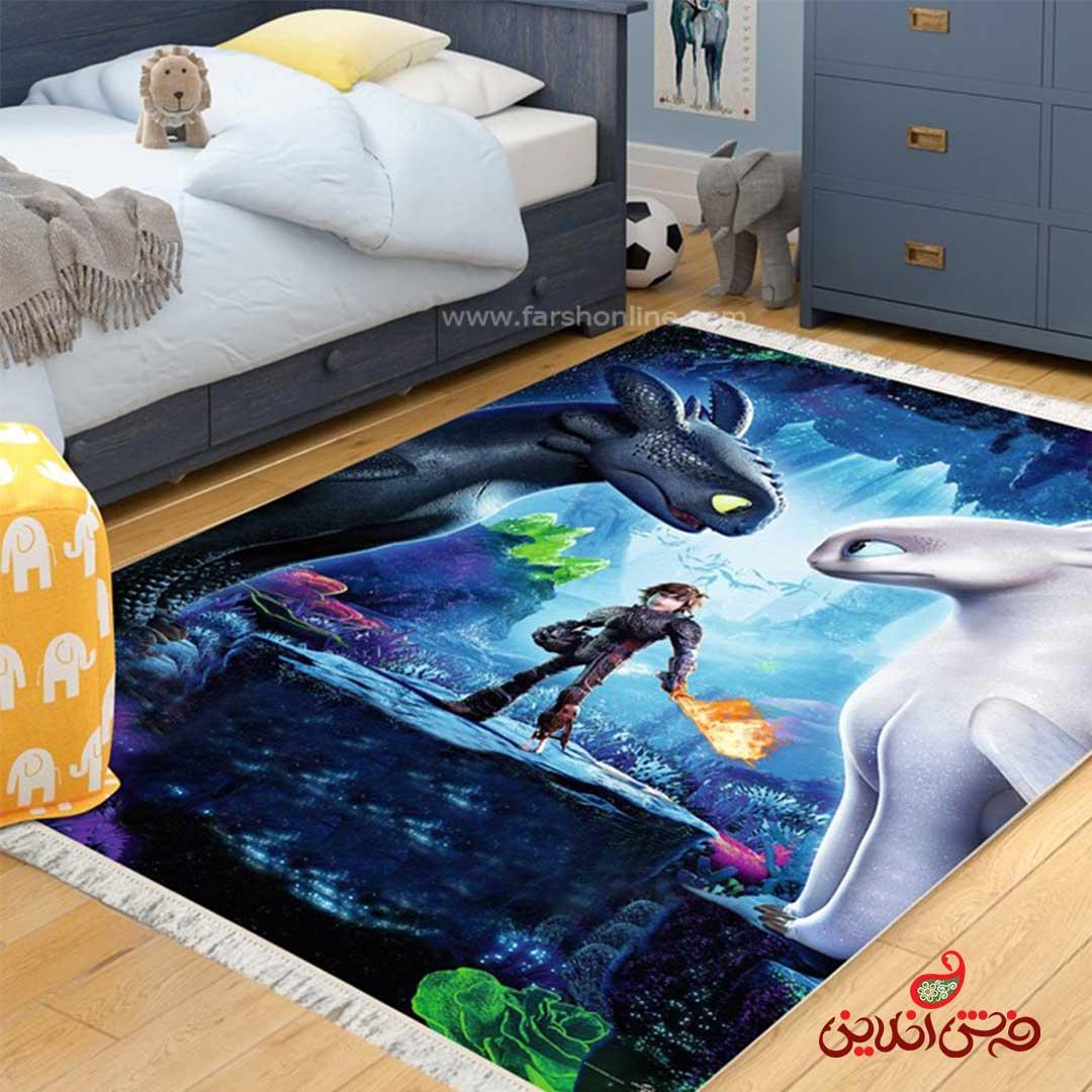 فرش ماشینی کودک کلاریس طرح انیمیشن مربی اژدها  کد 100269