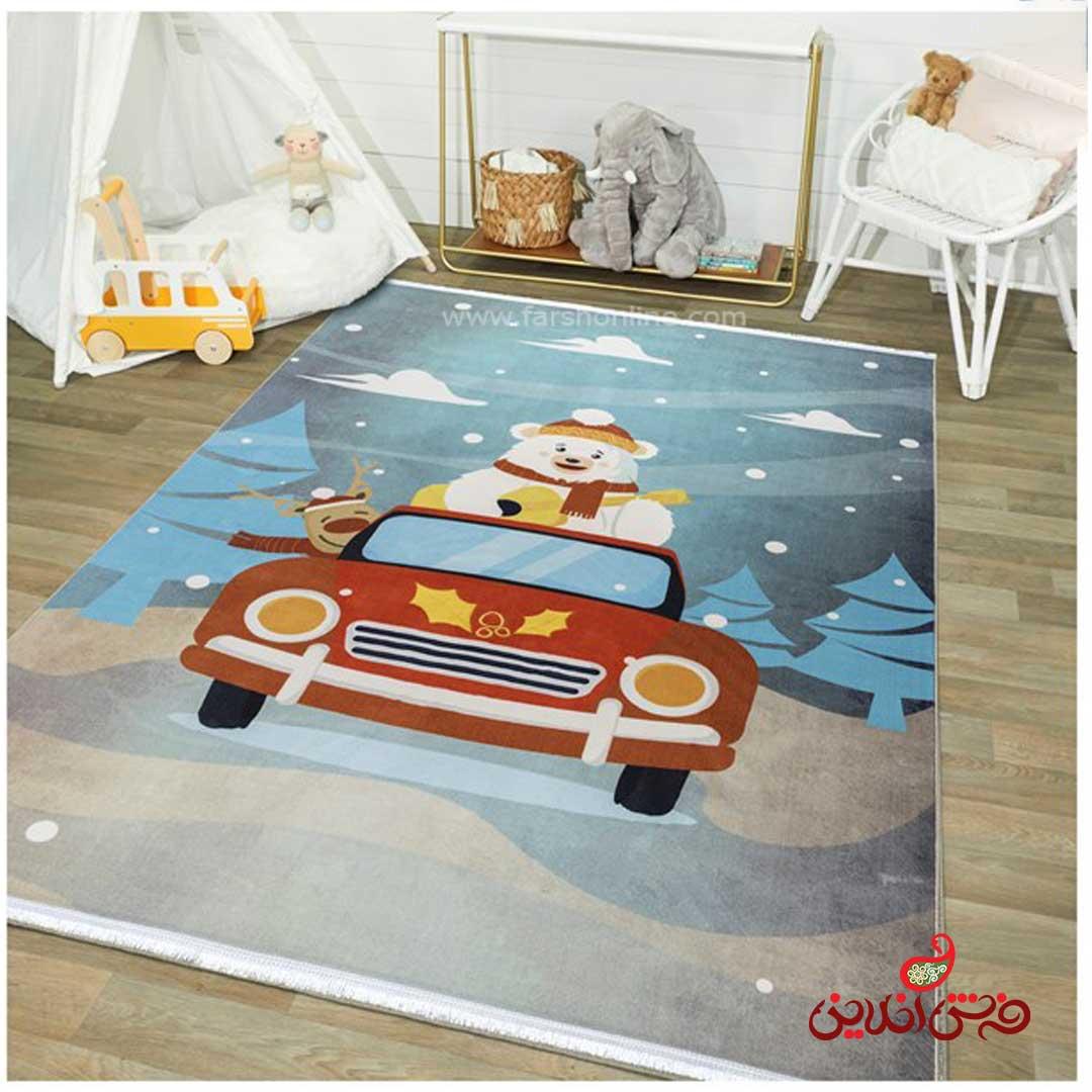 فرش ماشینی کودک کلاریس طرح انیمیشن خرس قطبی  کد 100307