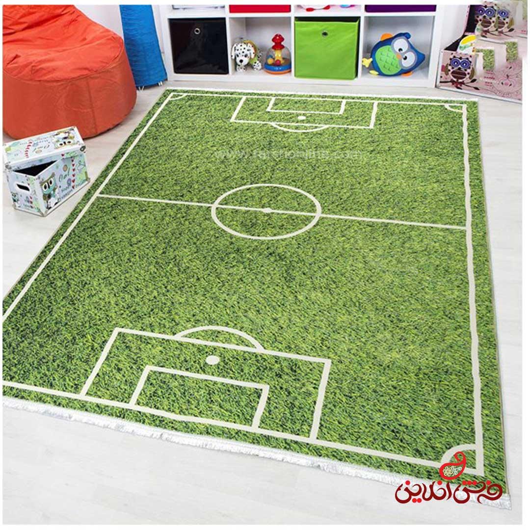 فرش ماشینی کودک کلاریس طرح انیمیشن زمین فوتبال  کد 100290