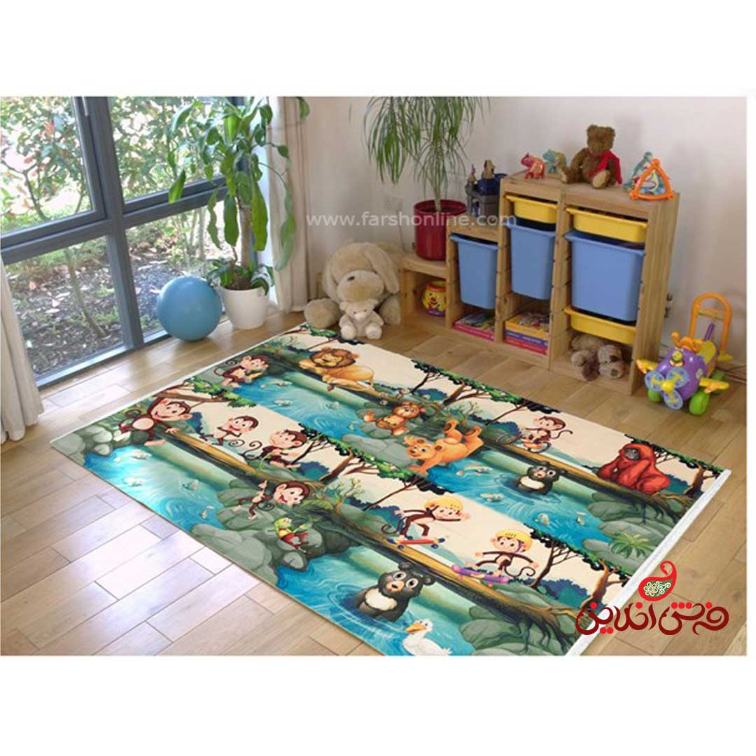 فرش ماشینی کودک کلاریس طرح جنگل  کد 100217