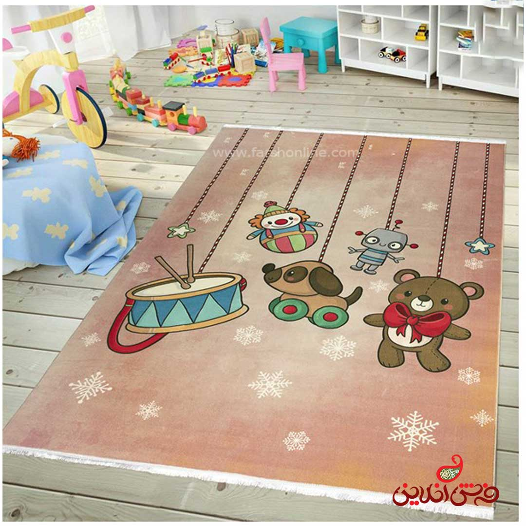 فرش ماشینی کودک کلاریس طرح اسباب بازی  کد 100276