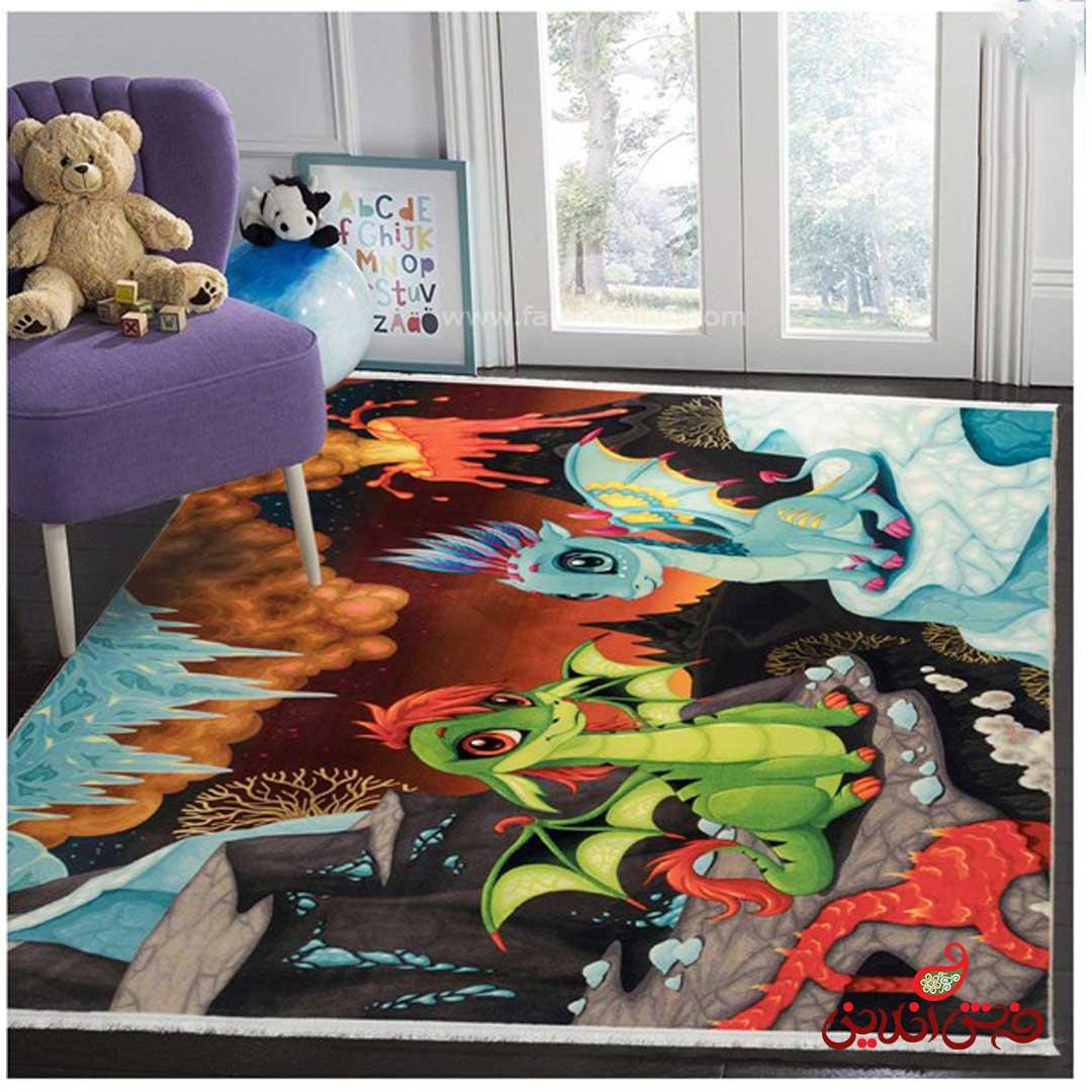 فرش ماشینی کودک کلاریس طرح دراگون  کد 100215