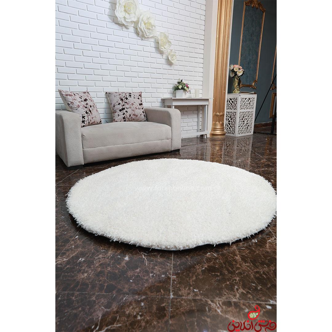 فرش گرد شگی نخ فلوکاتی ترک سفید