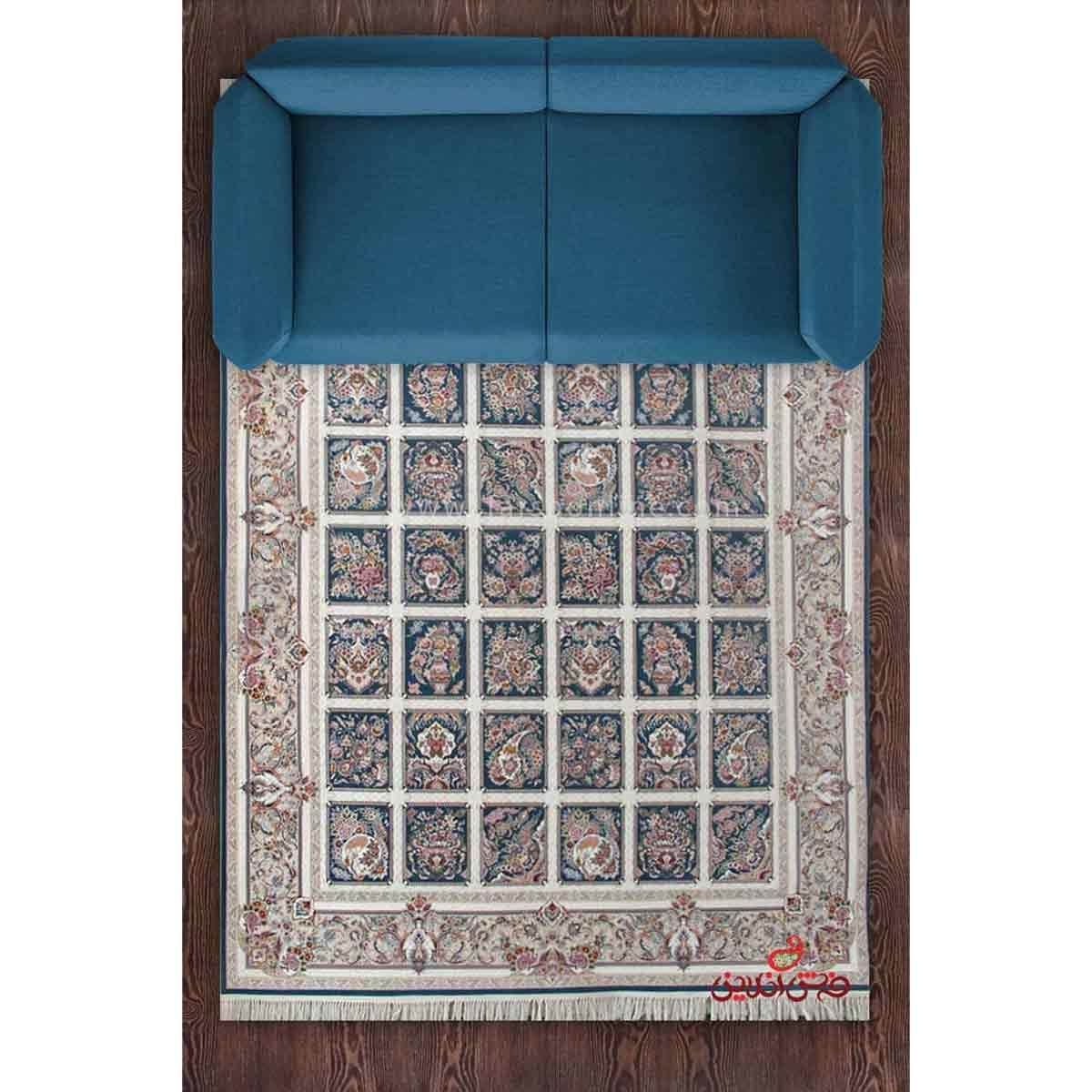 فرش ماشینی برلیان طرح مهرانه کاربنی