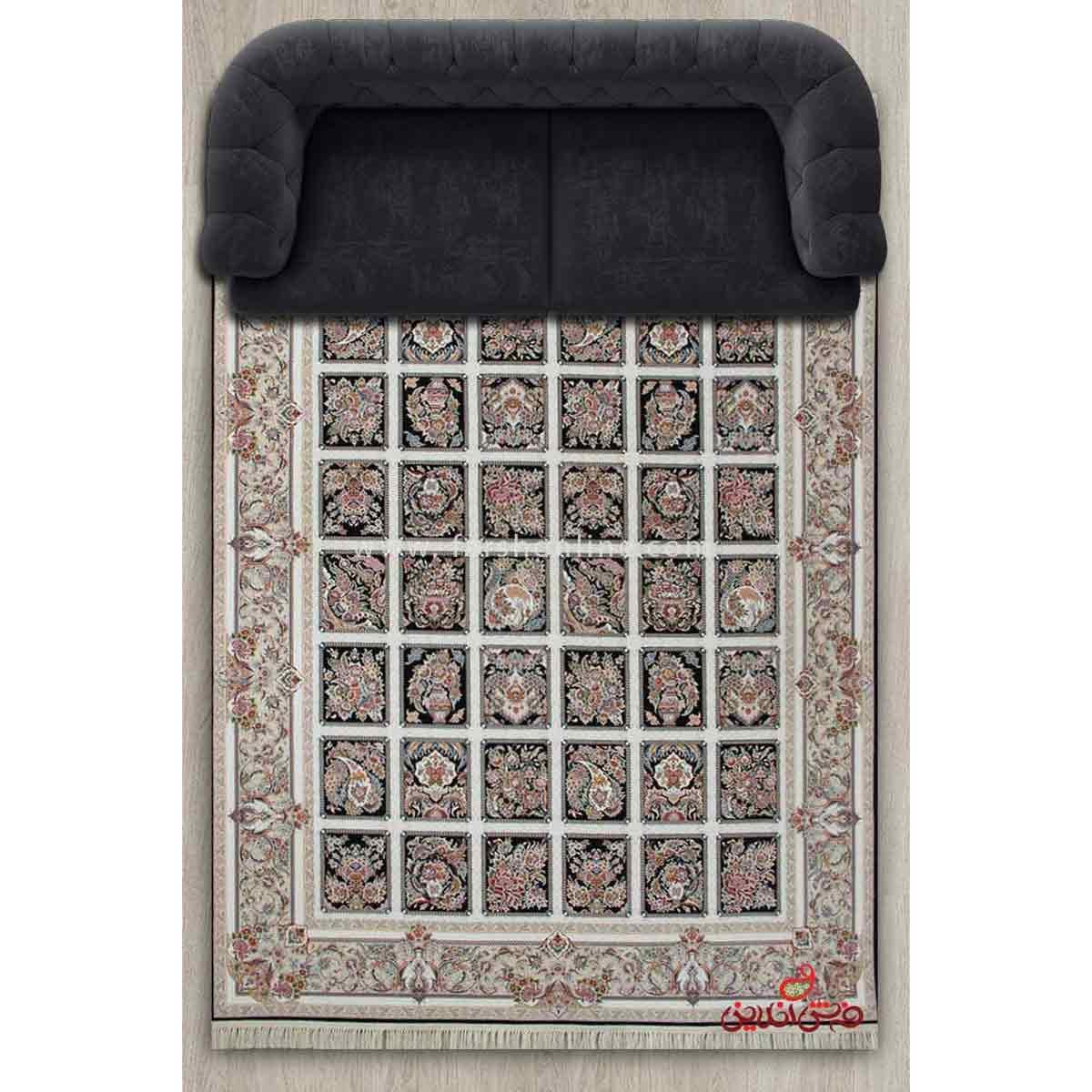 فرش ماشینی برلیان طرح مهرانه سرمه ای