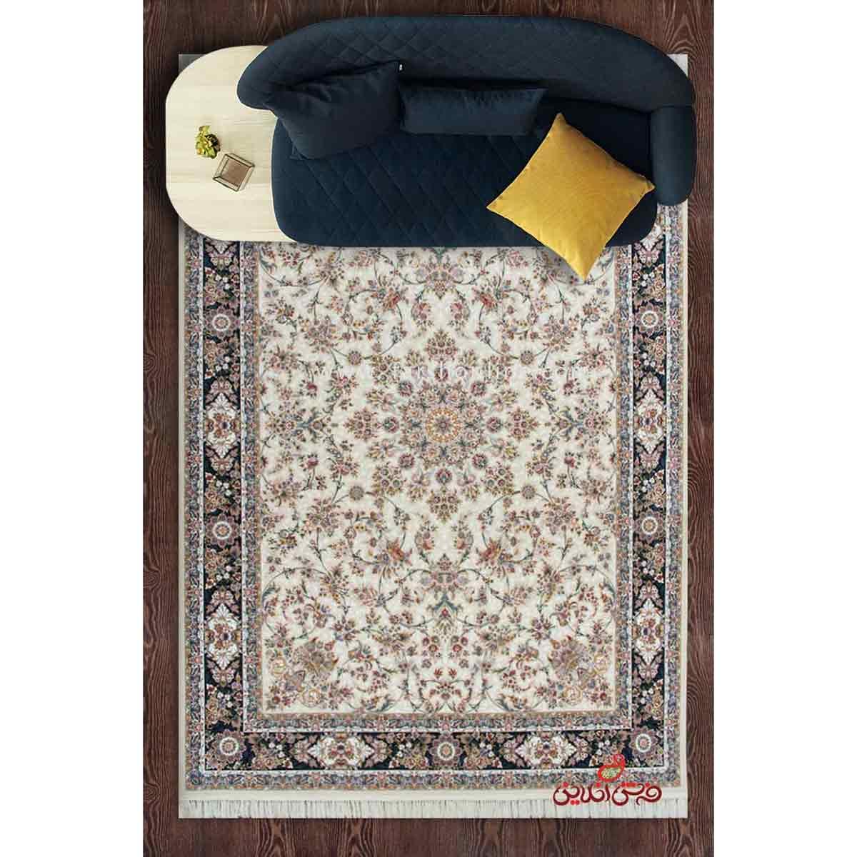 فرش ماشینی برلیان طرح خوشه کرم