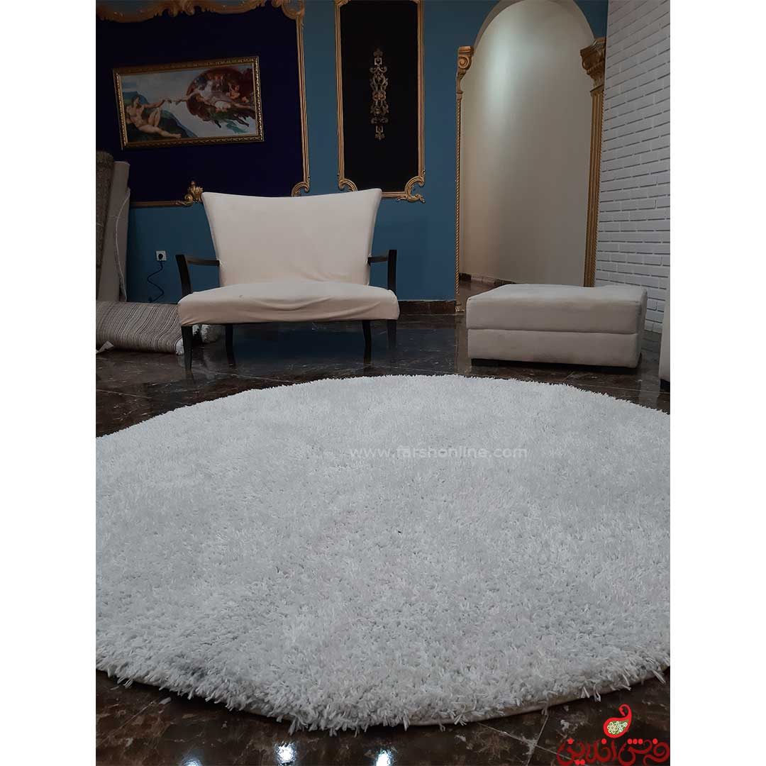 فرش گرد شگی فلوکاتی سفید