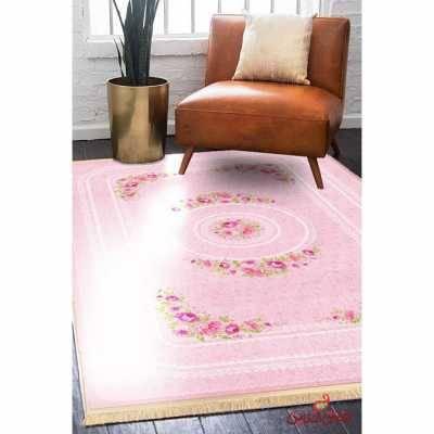 فرش ماشینی کلاریس کلکسیون کلاسیک کد100103صورتی