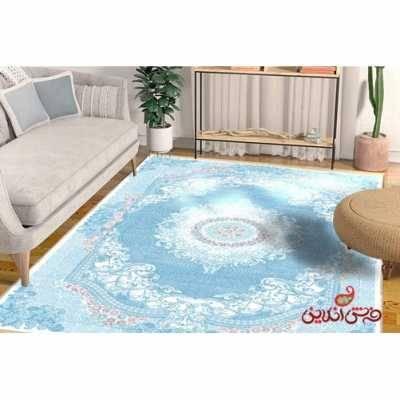 فرش ماشینی کلاریس کلکسیون کلاسیک  کد 100102 آبی