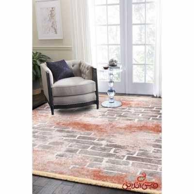 فرش ماشینی کلاریس کلکسیون مدرن کد 100410آجری
