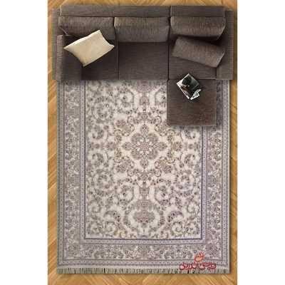 فرش ماشینی پرنیان طرح لوتوس کرم