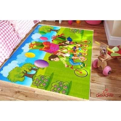 فرش ماشینی کودک کلاریس طرح بچه های دوچرخه سوار کد 100249
