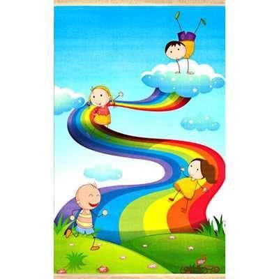 فرش ماشینی کودک کلاریس طرح رنگین کمان کد 100247
