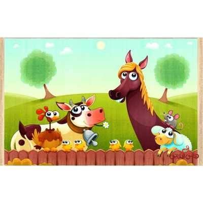 فرش ماشینی کودک کلاریس طرح حیوانات کد 100216
