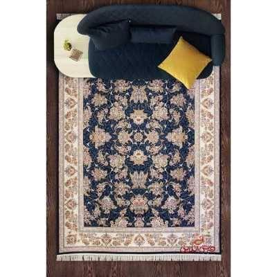 فرش ماشینی پرنیان طرح صنوبر سرمه ای