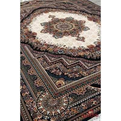 فرش ماشینی کاشان طرح بهشت سرمه ای