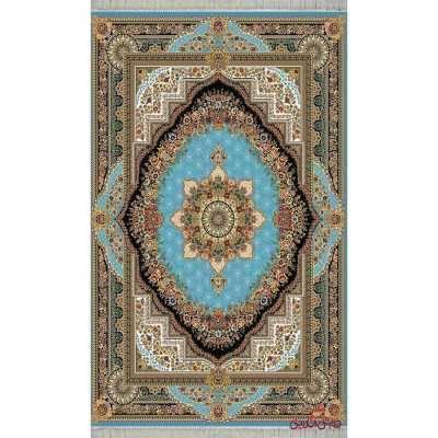 فرش ماشینی کاشان طرح بهشت فیروزه ای