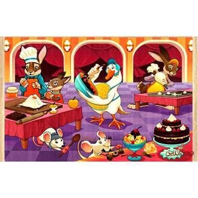 فرش ماشینی کودک کلاریس طرح آشپزخانه حیوانات کد 100211