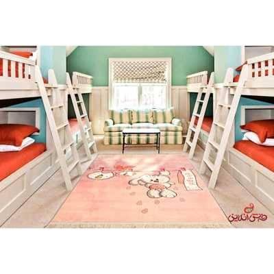 فرش ماشینی کودک کلاریس طرح خرگوش و بند کد 100237