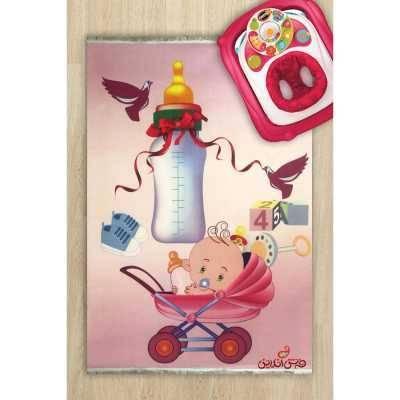 فرش ماشینی کودک کلاریس طرح نوزاد در کالسکه کد 100240