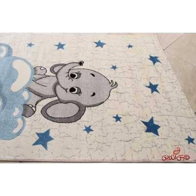 فرش ماشینی کودک ساوین طرح فیل 4049 کرم