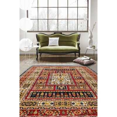 فرش ماشینی ساوین طرح باغی سرمه ای