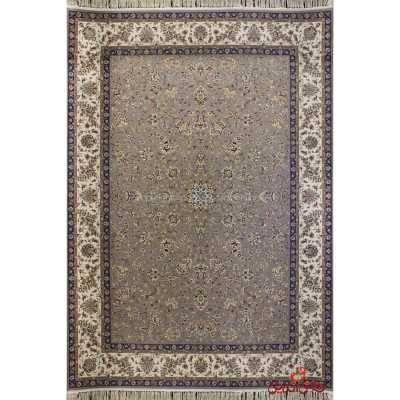 فرش ماشینی پرنیان طرح افشان فیلی حاشیه کرم