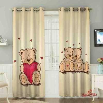پرده 2عددی کودک طرح خرس و قلب کد 2100