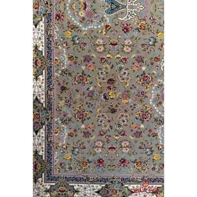 فرش ماشینی برین کاشان طرح کیمیای سعادت نقره ای