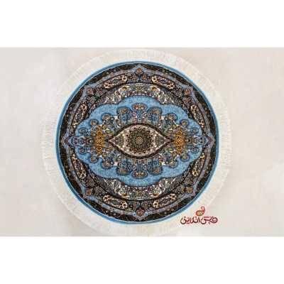 فرش گرد نگین مشهد کد 721 آبی
