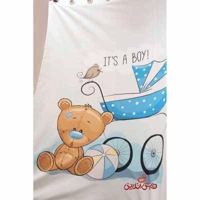 پرده 2عددی کودک طرح کالسکه خرس ها کد 2020